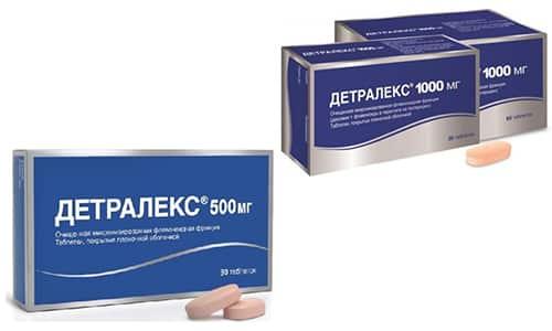 Для лечения заболеваний, связанных с нарушением кровоснабжения и потерей эластичности сосудов, используют Детралекс с дозировками 1000 и 500 мг