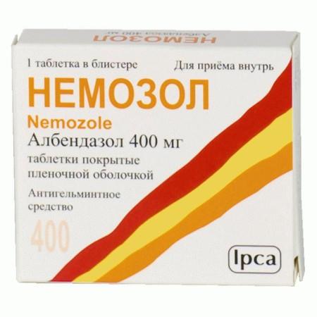 Албендазол входит в состав препарата Немозол