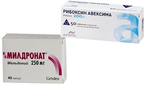 Милдронат и Рибоксин назначаются при заболеваниях сердечно-сосудистой системы